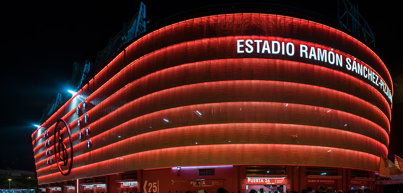Ramon Sanchez-Pizjuan stadium, belonging to Sevilla FC (Spain), at night.
