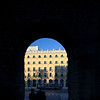 Archway in the Macarena Wall with Macarena Hotel on the background, Seville, Spain