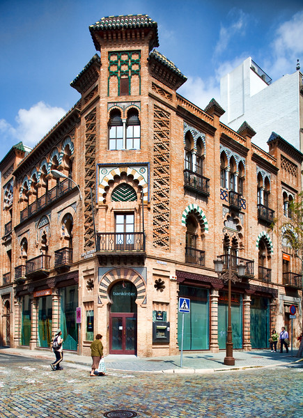 Manuel Nogueira House (1907), building by the famous architect Anibal Gonzalez in Neomudejar style. Seville, Spain
