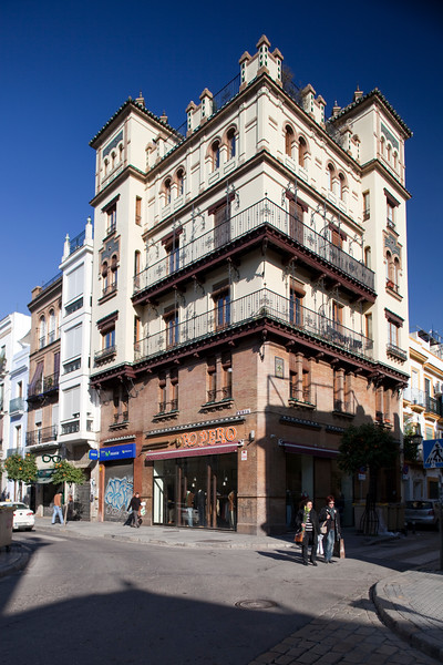 Regionalist style building on Feria street, Seville, Spain. Built between 1921-1923 according to a design by the architect Jose Espiau.