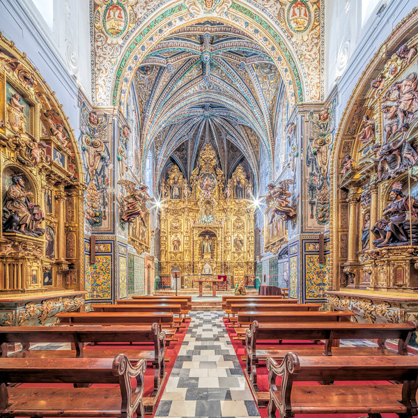 Church of Santa Paula Convent, Seville, Spain. High resolution square panorama.