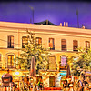 Alaneda de Hercules square by night, Seville, Spain. Digital illustration.