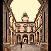 Framed view of a courtyard, University of Seville (former Royal Tobacco Factory), Seville, Spain