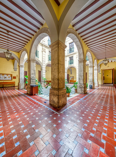 Courtyard, University of Seville (former Royal Tobacco Factory, 18th century). High resolution panorama.