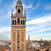 The Giralda Tower as seen from the roof of Santa Maria de la Sede Cathedral, Seville, Spain