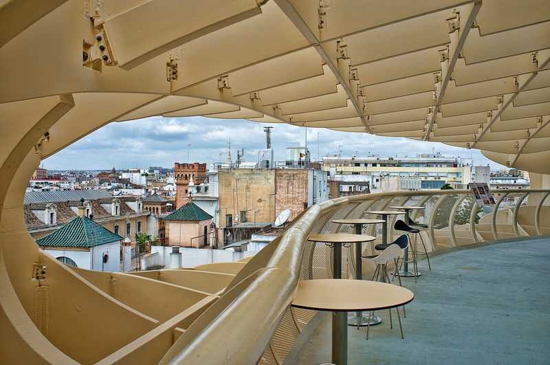 Snack bar on the top of Metropol Parasol structure, Seville, Spain