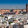 Perdigones tower (right) and north side of the city center as seen from the top of Metropol Parasol, Seville, Spain