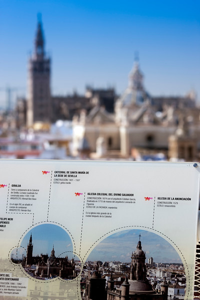 Information board on the top of Metropol Parasol, Seville, Spain