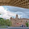 Anunciacion church as seen from Metropol Parasol building, Seville, Spain