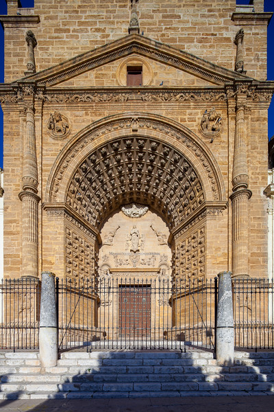 Facade of Santa Maria de la Mesa church, Utrera, Seville, Spain