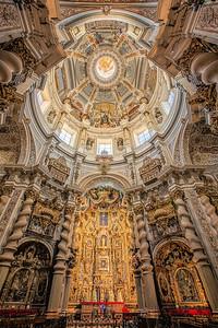 Ceiling of San Luis de los Franceses church, in Baroque style, Seville, Spain.
