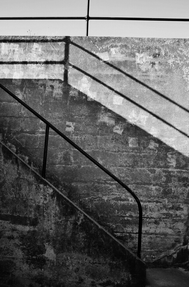 Chiaroscuro #130901-019 (B&W Stairwell, Fort Casey, Whidbey Island, WA)