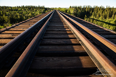 Looking across the abandoned Pouce Coupe railroad trestle