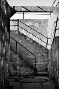 Chiaroscuro #130901-012 (B&W Stairwell, Fort Casey, Whidbey Island, WA)