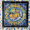 Saint Luke on old glazed ceramic tiles, Fine Arts Museum, Seville, Spain