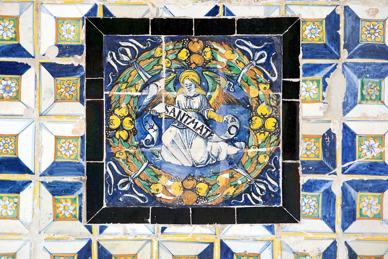 Saint Matthew, old glazed ceramic tiles, Fine Arts Museum, Seville, Spain