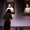 Woman looking at El Greco's paintings, temporary exhibition, Fine Arts Museum, Seville, Spain