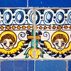 Cherubs on old glazed ceramic tiles, Fine Arts Museum, Seville, Spain