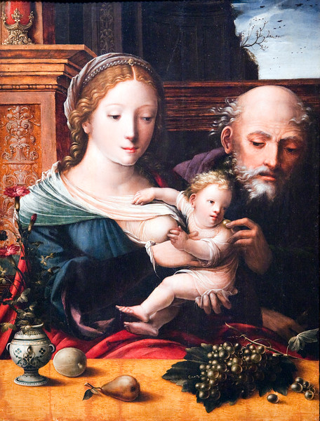 Holy Family, by the Master of the Parrot (1550), Fine Arts Museum, Seville, Spain