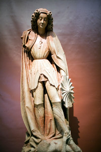 Saint Michel, terra-cotta by Mercadante of Britanny (15th century), Fine Arts Museum, Seville, Spain