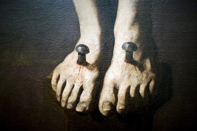 "Detail of the nailed feet of ""Dying Christ"", painting by Zurbarán (17th century), Fine Arts Museum, Seville, Spain"