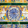 Angels on old glazed ceramic tiles, Fine Arts Museum, Seville, Spain