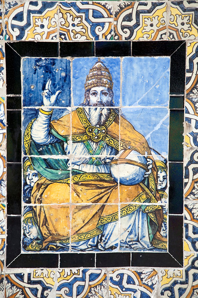 The Pope on old glazed ceramic tiles, Fine Arts Museum, Seville, Spain