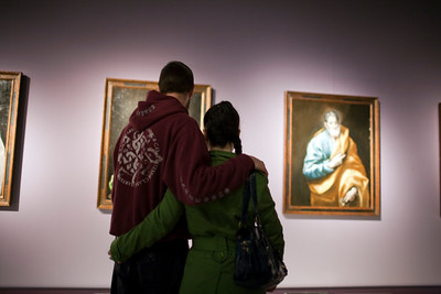 Young couple looking at El Greco's paintings, Fine Arts Museum, Seville, Spain