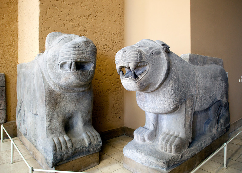 Sculptures of lions belonging to the inner gate of the citadel of Sam'al (Zimcirli, Turkey, 8th century BC), Pergamon Museum, Berlin, Germany