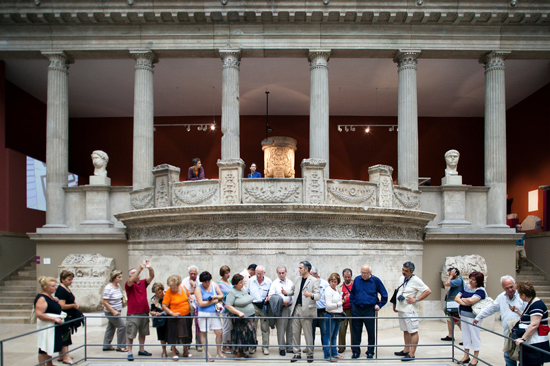 Roman architecture in the Miletus market gate room, Pergamon Museum, Berlin, Germany