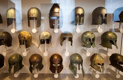 Greek helmets, Altes Museum, Berlin, Germany