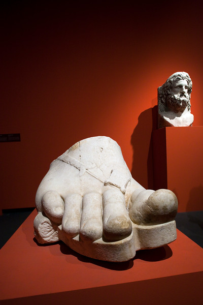 Colossal foot from a Roman statue in marble (1st century BC), Pergamon Museum, Berlin, Germany