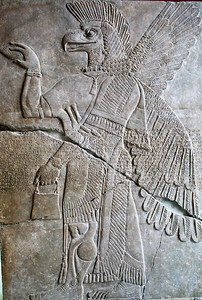 Assyrian reliefs in alabaster, showing winged divine beings, Pergamon Museum, Berlin, Germany