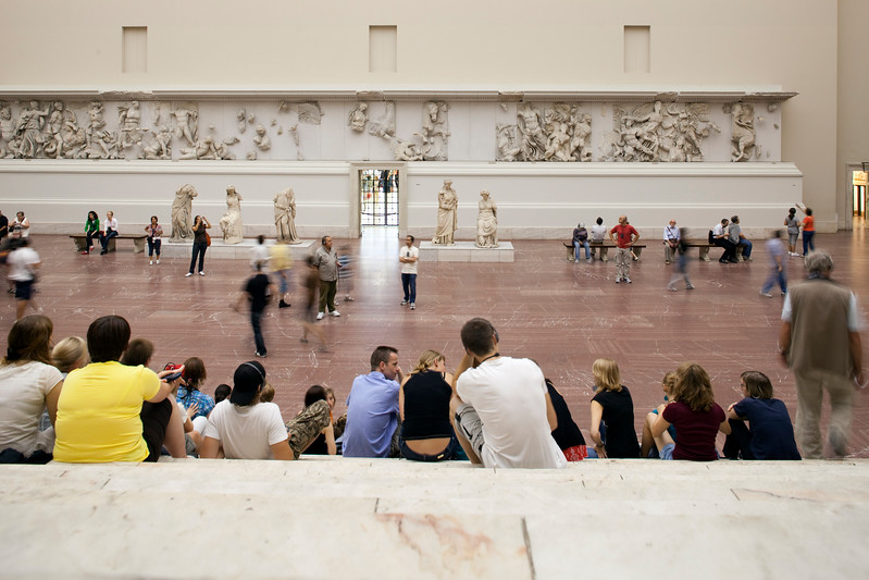 Frieze with Hellenistic sculptures in the Pergamon Altar room, Pergamon Museum,  Berlin, Germany