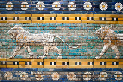 Lions in glazed ceramic from the processional way of Ishtar Gate (Babylon), Pergamon Museum, Berlin, Germany