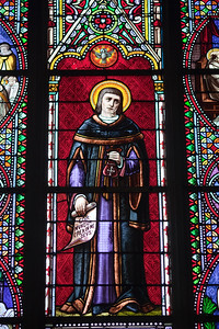 Stained glass window, Vannes, department of Morbihan, region of Brittany, France