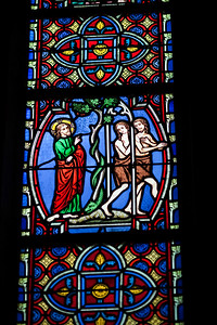 God evicts Adam and Eve from the Garden of Eden, Stained glass window, Saint Pierre Cathedral, Vannes, department of Morbihan, region of Brittany, France