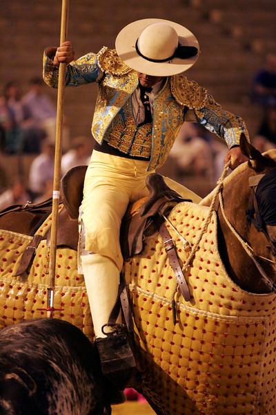 Picador spearing the bull. Bullfight at Real Maestranza bullring, Seville, Spain, 15 August 2006.