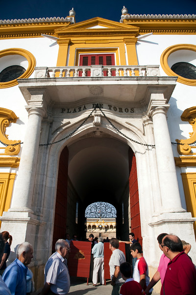 Real Maestranza bullring main entrance, known as Puerta del Principe (Prince's Gate). Seville, Spain, 15 August 2006.