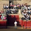 Puerta de toriles or bull pen gate. Bullfight at Real Maestranza bullring, Seville, Spain, 15 August 2006.