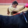 The Spanish bullfighter Anibal Ruiz with the cape. Bullfight at Real Maestranza bullring, Seville, Spain, 15 August 2006.