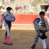 Bullfighters at the paseillo or initial parade. Bullfight at Real Maestranza bullring, Seville, Spain, 15 August 2006.