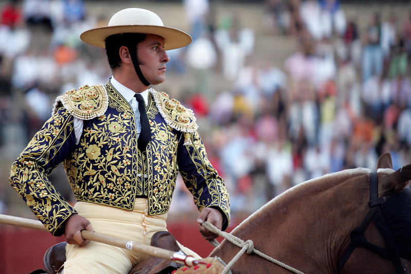 Picador waiting for the bull charge. Bullfight at Real Maestranza bullring, Seville, Spain, 15 August 2006.