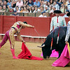Descabello or coup de grace by Anibal Ruiz. Bullfight at Real Maestranza bullring, Seville, Spain, 15 August 2006.