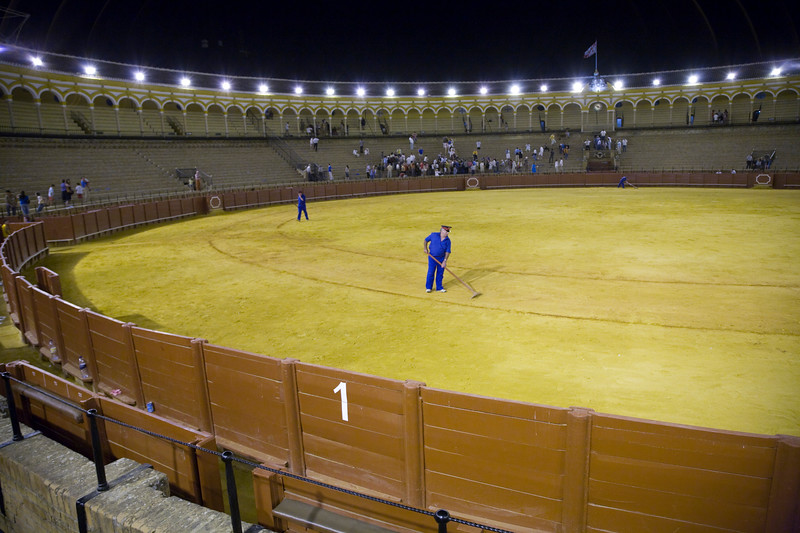 Real Maestranza bullring at the end of a bullfight, Seville, Spain, 15 August 2006.