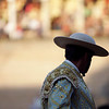 Picador silhouette. Bullfight at Real Maestranza bullring, Seville, Spain, 15 August 2006.
