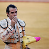 The bullfighter Uceda Leal kissing a relic. Bullfight at Real Maestranza bullring, Seville, Spain, 15 August 2006.