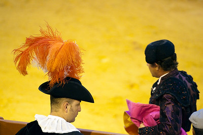 Alguacilillo or officer (left) and bullfighter, Real Maestranza bullring, Seville, autonomous community of Andalusia, southern Spain