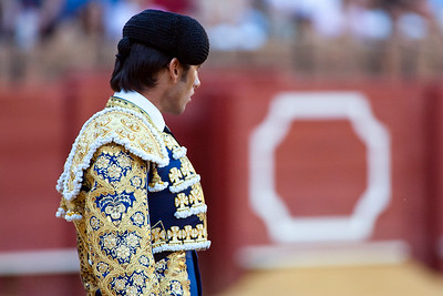 The Spanish bullfighter Fernandez Pineda looking at the bull, Real Maestranza bullring, Seville, autonomous community of Andalusia, southern Spain