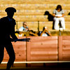 Silhouette of a banderillero or assistant bullfighter who sticks the banderillas into the bull's neck, Real Maestranza bullring, Seville, autonomous community of Andalusia, southern Spain